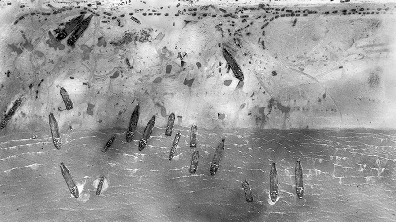 Aerial view of Sword Beach on D-Day, 1944, as two British jets recreated reconnaissance photos of the D-Day beaches in France in a bid to highlight the meticulous planning behind the landings.