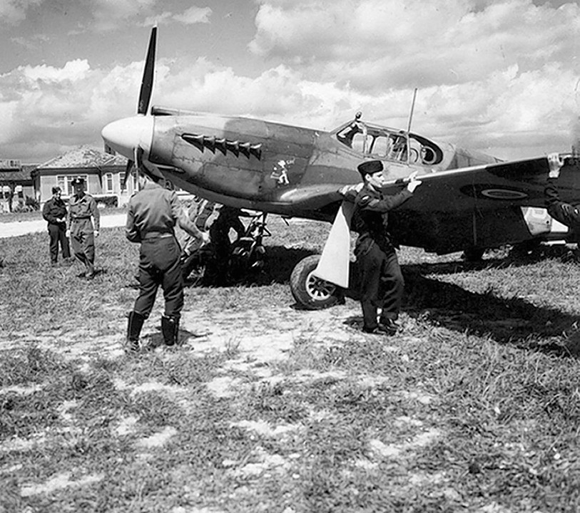 Mustang aircraft of II (Army Cooperation) Squadron being prepared for a mission over Normandy as part of Operation Overlord, as two British jets recreated reconnaissance photos of the D-Day beaches in France in a bid to highlight the meticulous planning behind the landings.
