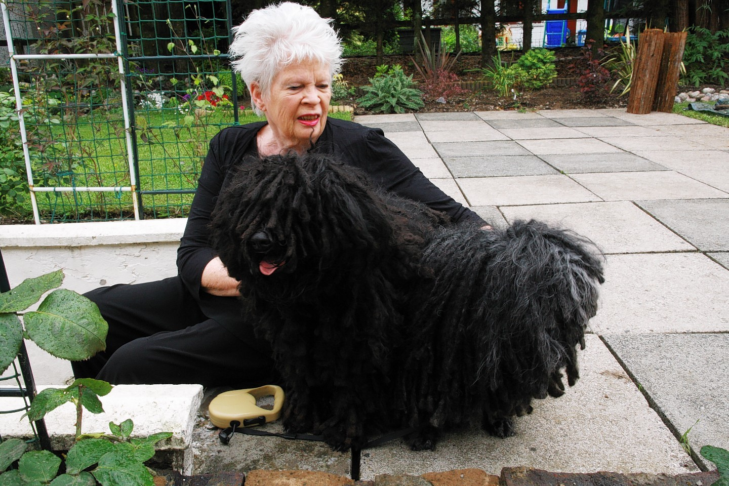 Frieda Alexander Glencoe with her Puli dogs. also playing in the garden one of five pictures