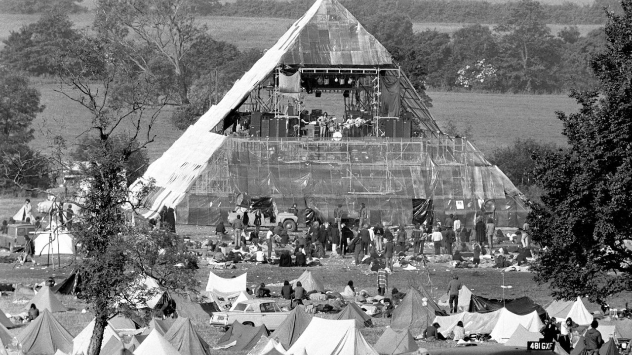 Photo dated 23/06/1971 of original pyramid stage at Worthy farm, Pilton, during the Glastonbury Festival, which starts on Friday this week.