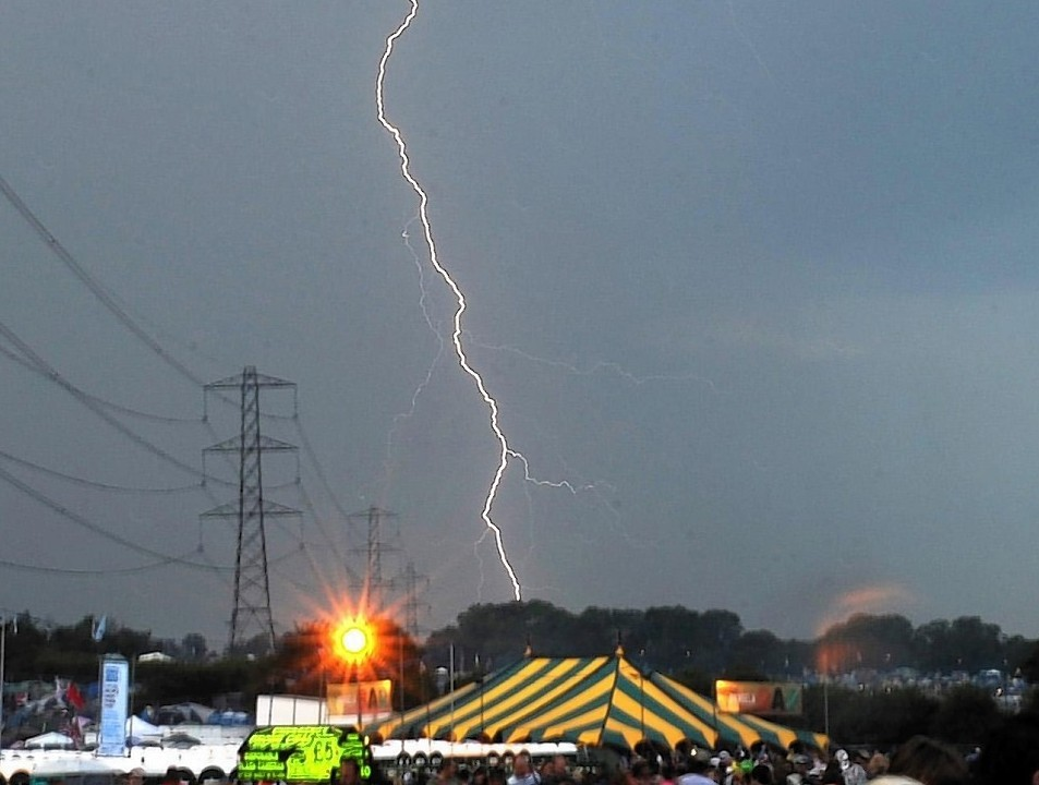 Lightning flashing at the 2009 Glastonbury Festival, which starts on Friday this week.