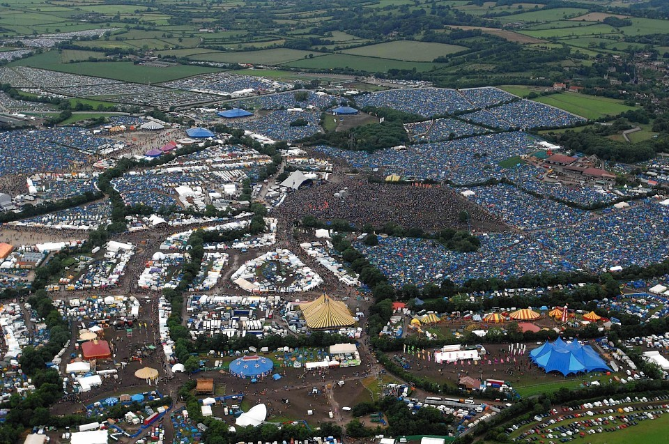 A view from the air of the 2007 Glastonbury festival, which starts on Friday this week