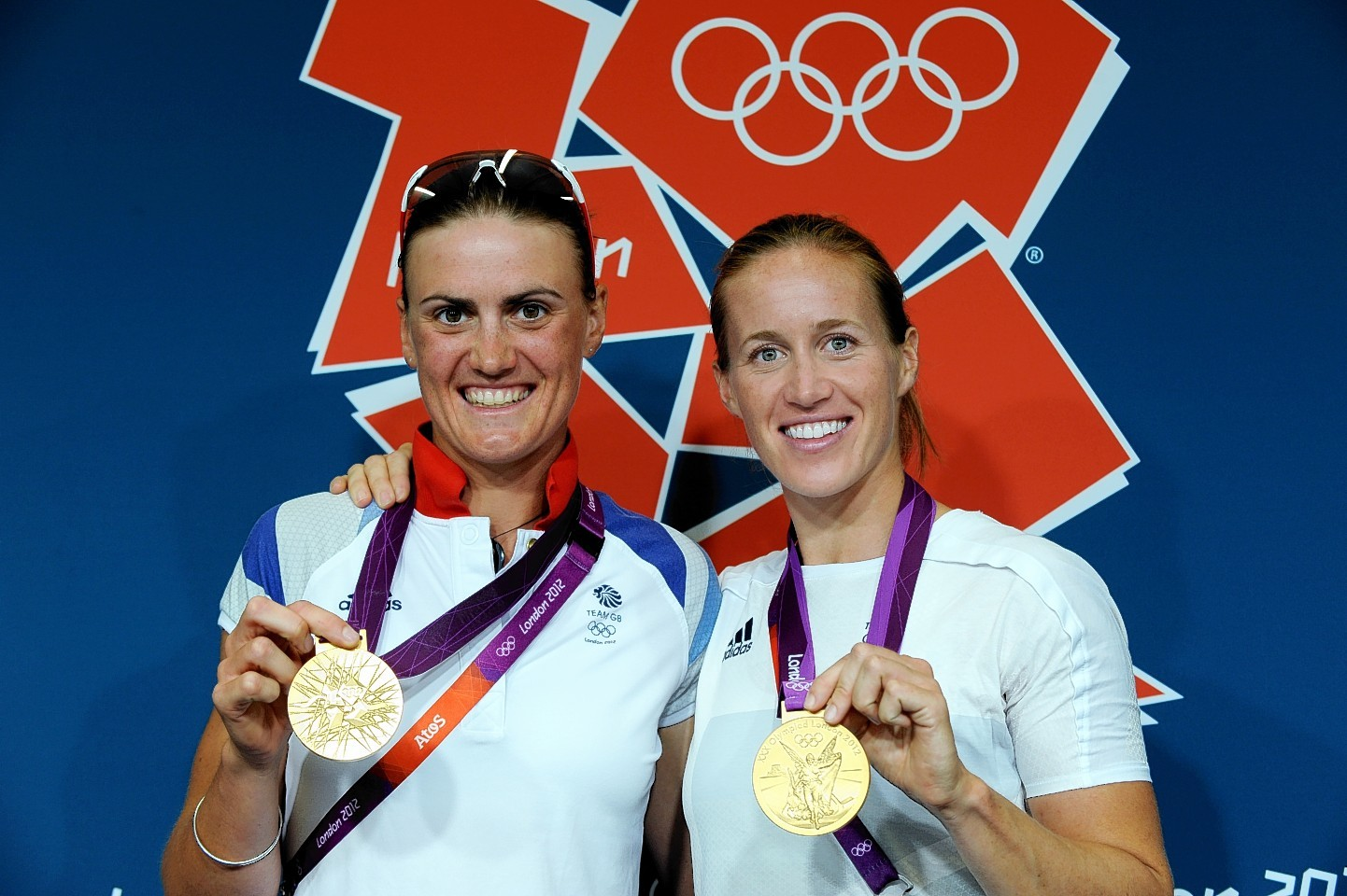Heather Stanning (left) with her gold medal
