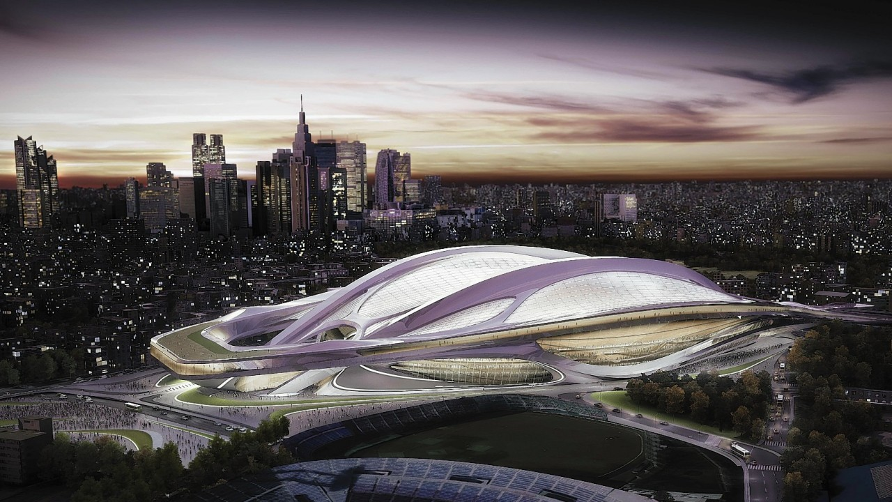 This artist rendering file released by Japan Sport Council shows the new National Stadium, the main venue Tokyo plans to build for the 2020 Summer Olympics.