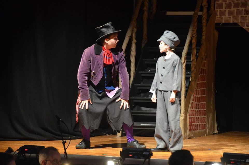 Left, Ross Robertson as the Artful Dodger, and right, Ben McCallum as Oliver