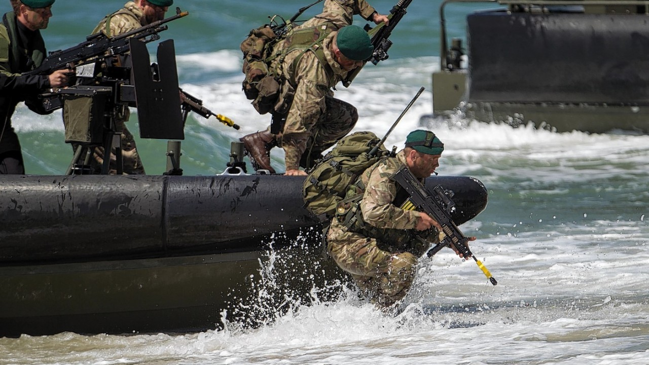 British and Dutch Marines invade the beach near Southsea Common in Hampshire to mark the 70th Anniversary of the D-Day landings