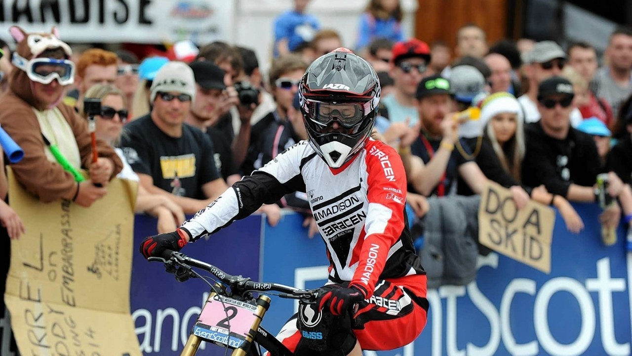 World Mountain Bike Downhill Championship 2014 at Fort William.  Manon Carpenter, GBR, the Women's Overall World Cup leader