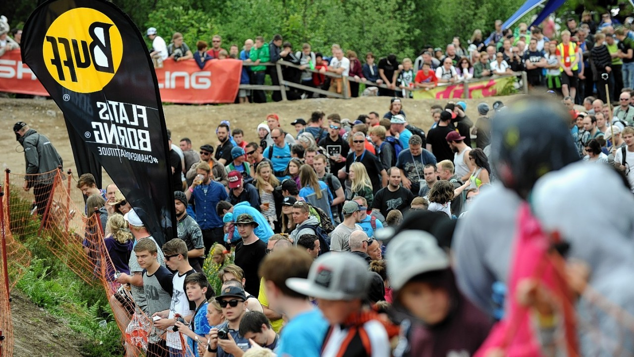 World Mountain Bike Downhill Championship 2014 at Fort William. 4X Protour Four Cross. Crowds gather to await the spectacle of Four Cross.