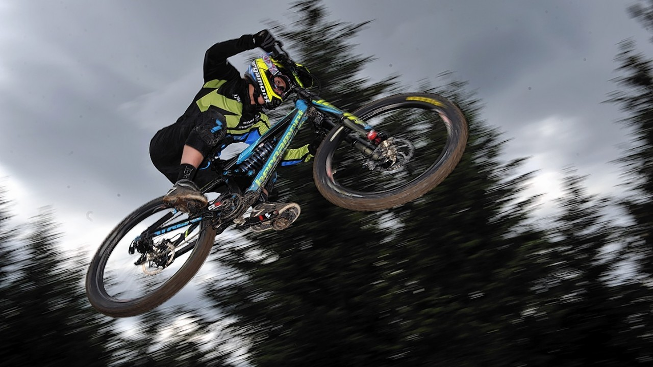 World Mountain Bike Downhill Championship 2014 at Fort William. Casey Brown, CAN, on a timed run.