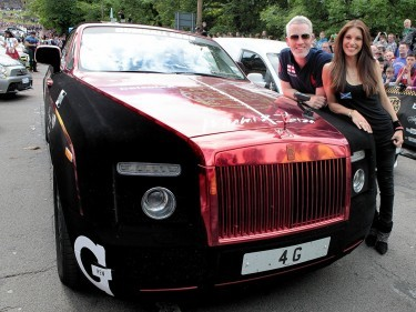 Former Miss Scotland Nicola Wood and her husband Garreth join other supercar drivers as they set off from The Mound in Edinburgh and head to London on the next stage of the Gumball 3000