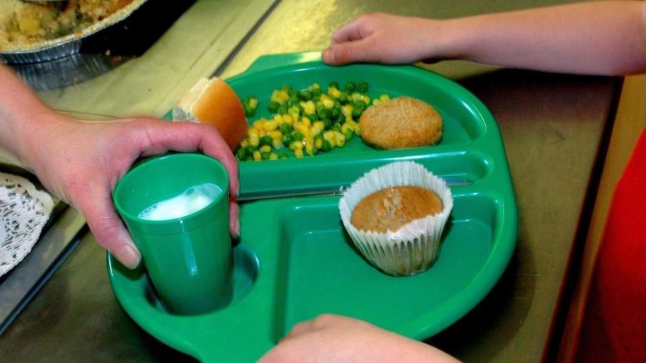 A school dinner being served.