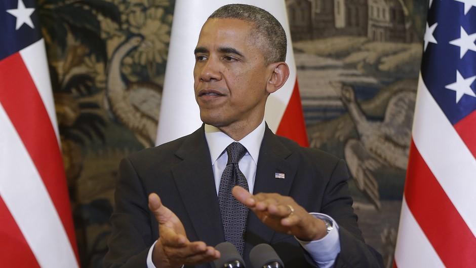 US president Barack Obama speaks at a news conference with Poland's president Bronislaw Komorowski at Belweder Palace in Warsaw (AP)