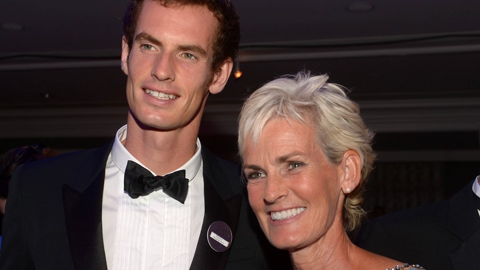 Andy Murray with his mother Judy during the Champions Ball after he won Wimbledon