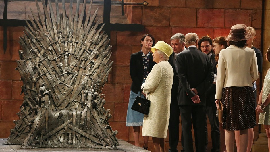 The Queen during a visit to the set of Game of Thrones in Northern Ireland
