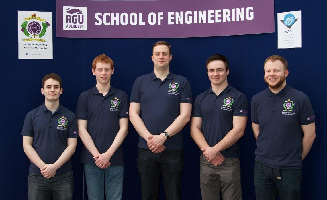 RGU team: From left, Robbie Williams, Ross Templeton, Matthew Head, Matthew Downie and Bruce Mackenzie.