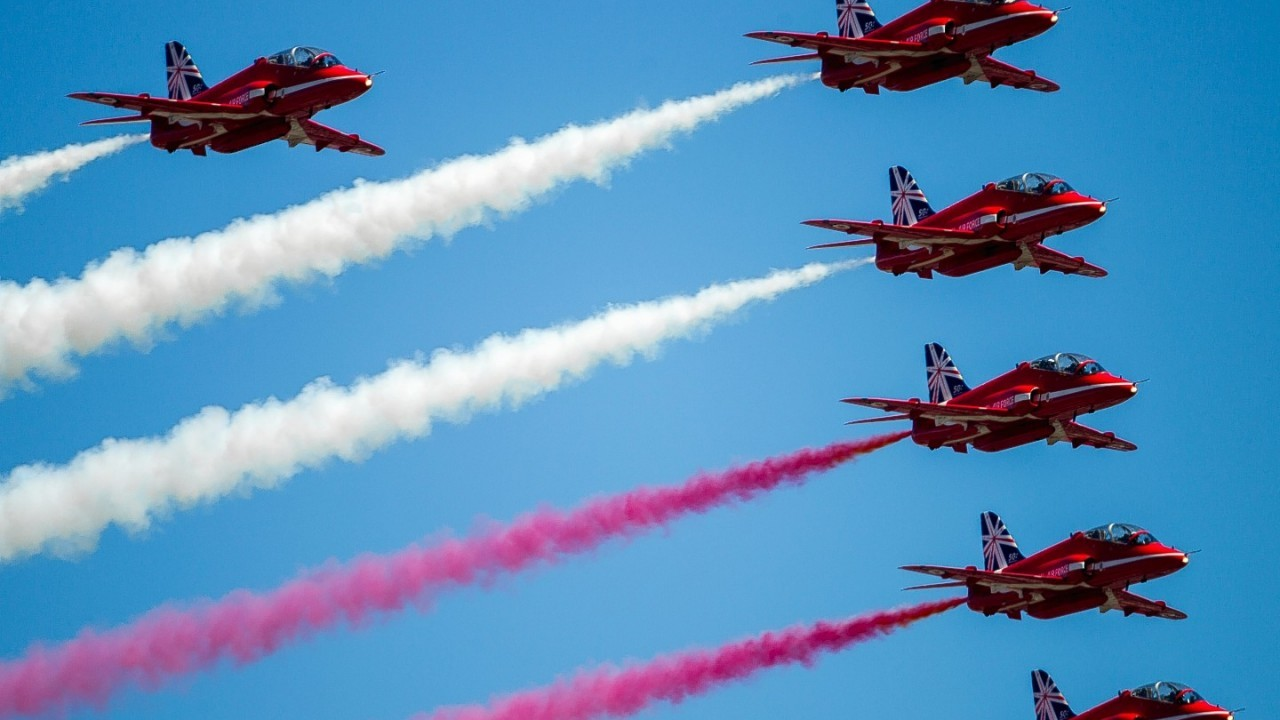 The RAF's Red Arrows perform over  Southsea Common in Hampshire, to mark the 70th Anniversary of the D-Day landings.