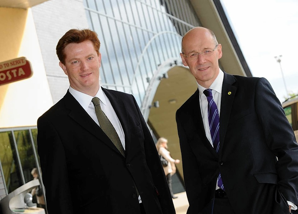 Danny Alexander and John Swinney together outside the AECC