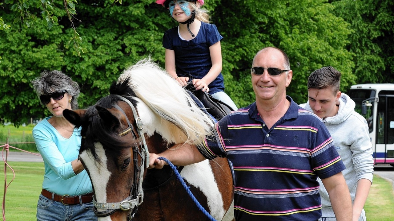 The Rotary Clubs, Kids Out day, at SRUC Craibstone , Aberdeen. In the picture is Payton Styles, Kirkhill Primary school on the horse.