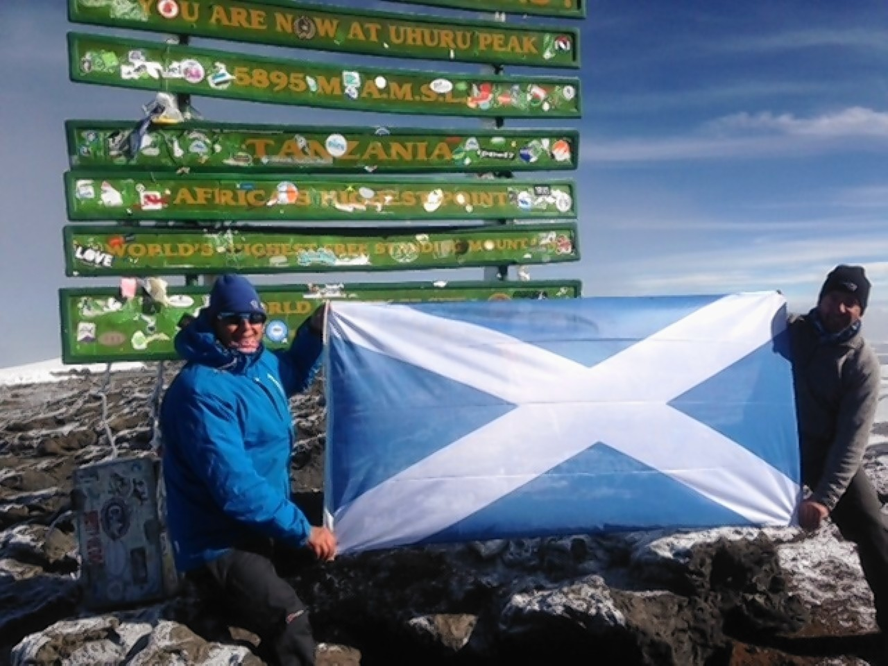 The saltire unveiled at the top of Kilimanjaro