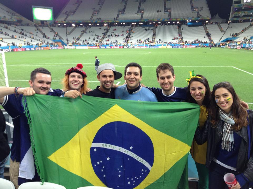 The Aberdeen lads with their Brazil flag at the World Cup stadium