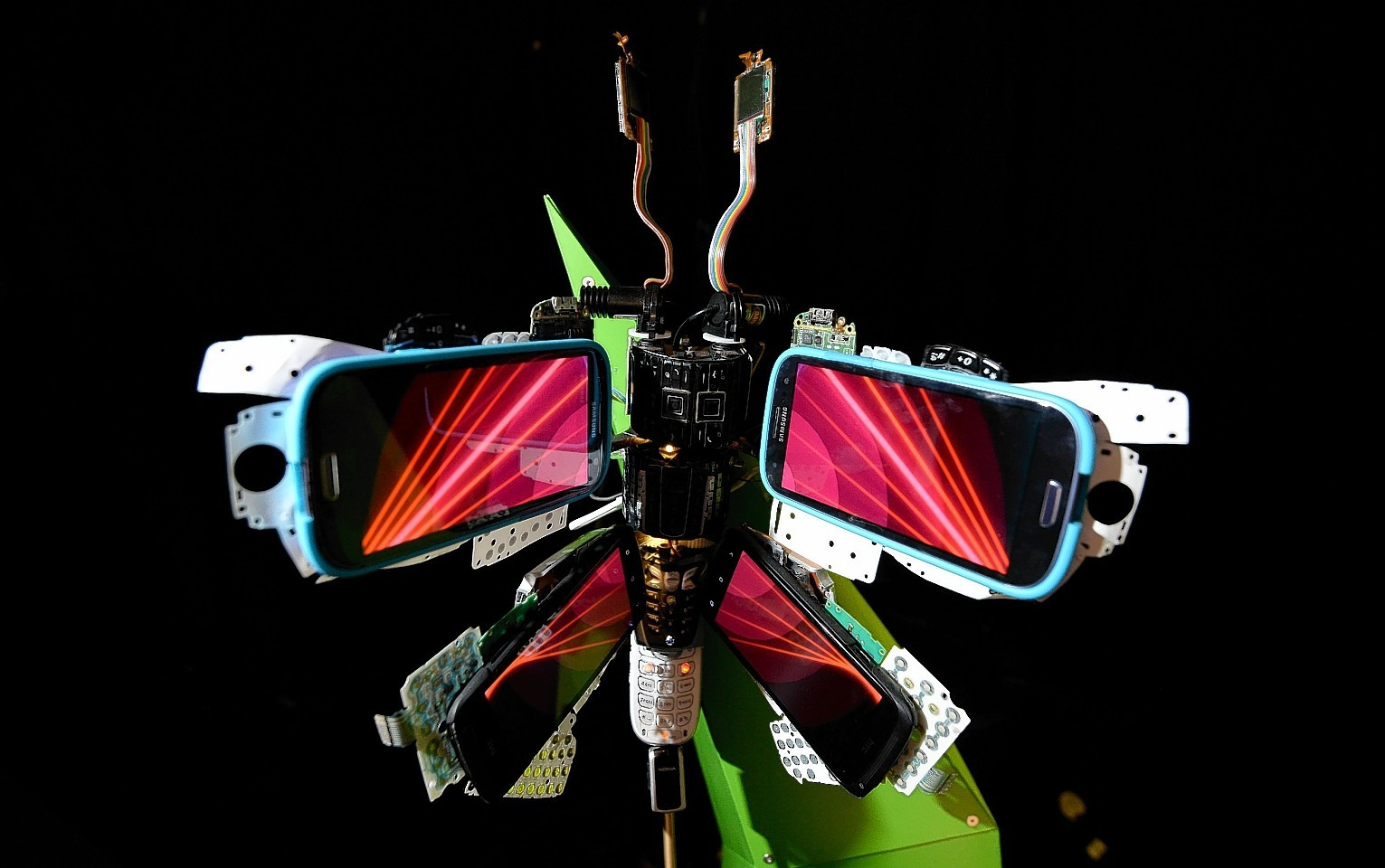 General view of a Digital butterfly commissioned by O2 Recycle which has been made out of smartphone components.