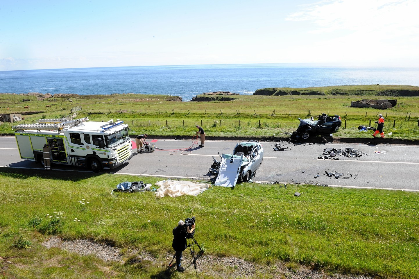 The scene of the fatal accident on the A90