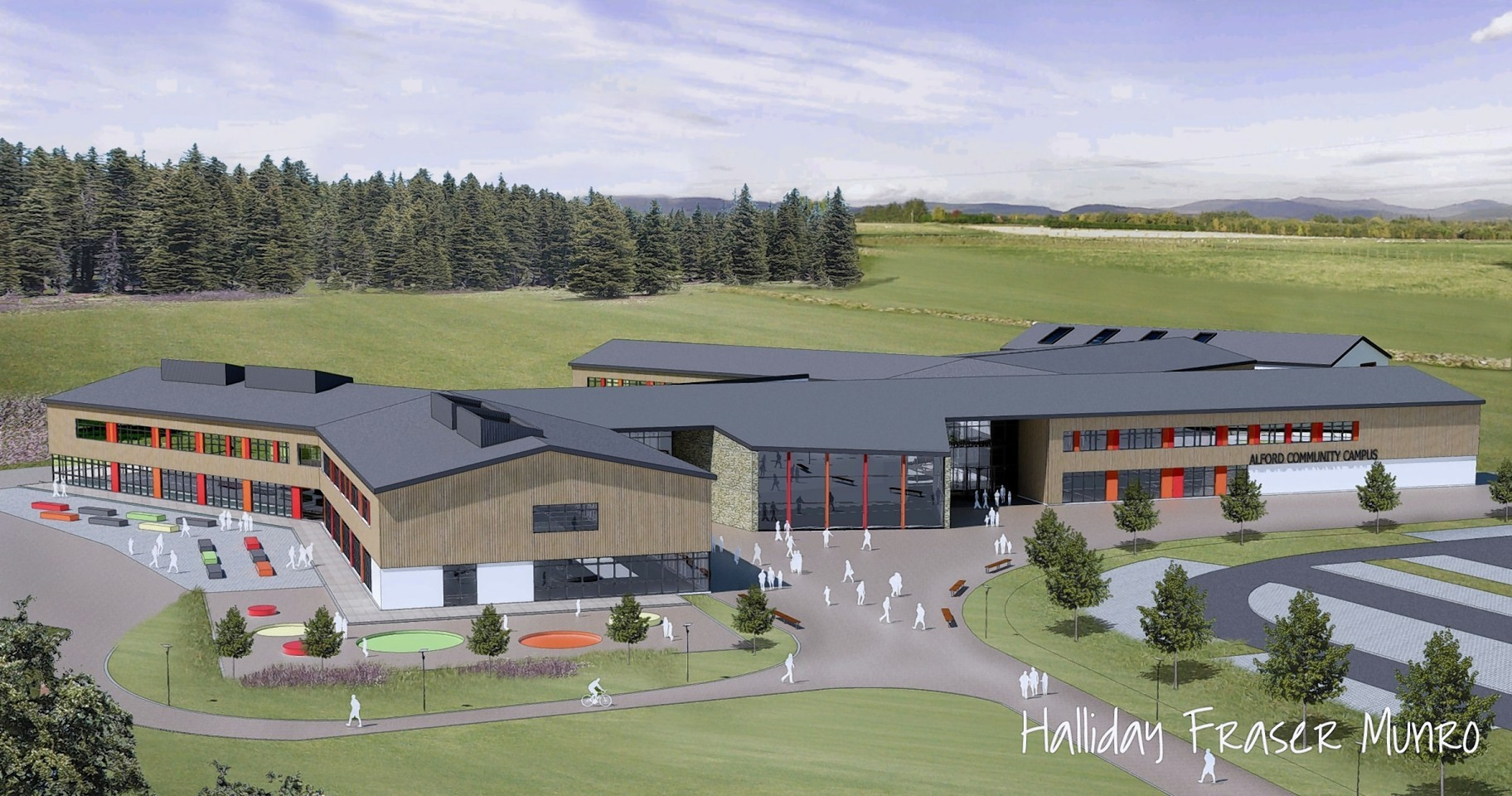 Artist impressions of the new campus at Alford