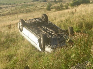 The car that Neil Smith drove off the road after attacking his cousin