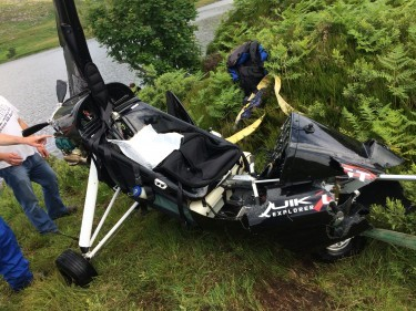 The microlight crashed into the loch