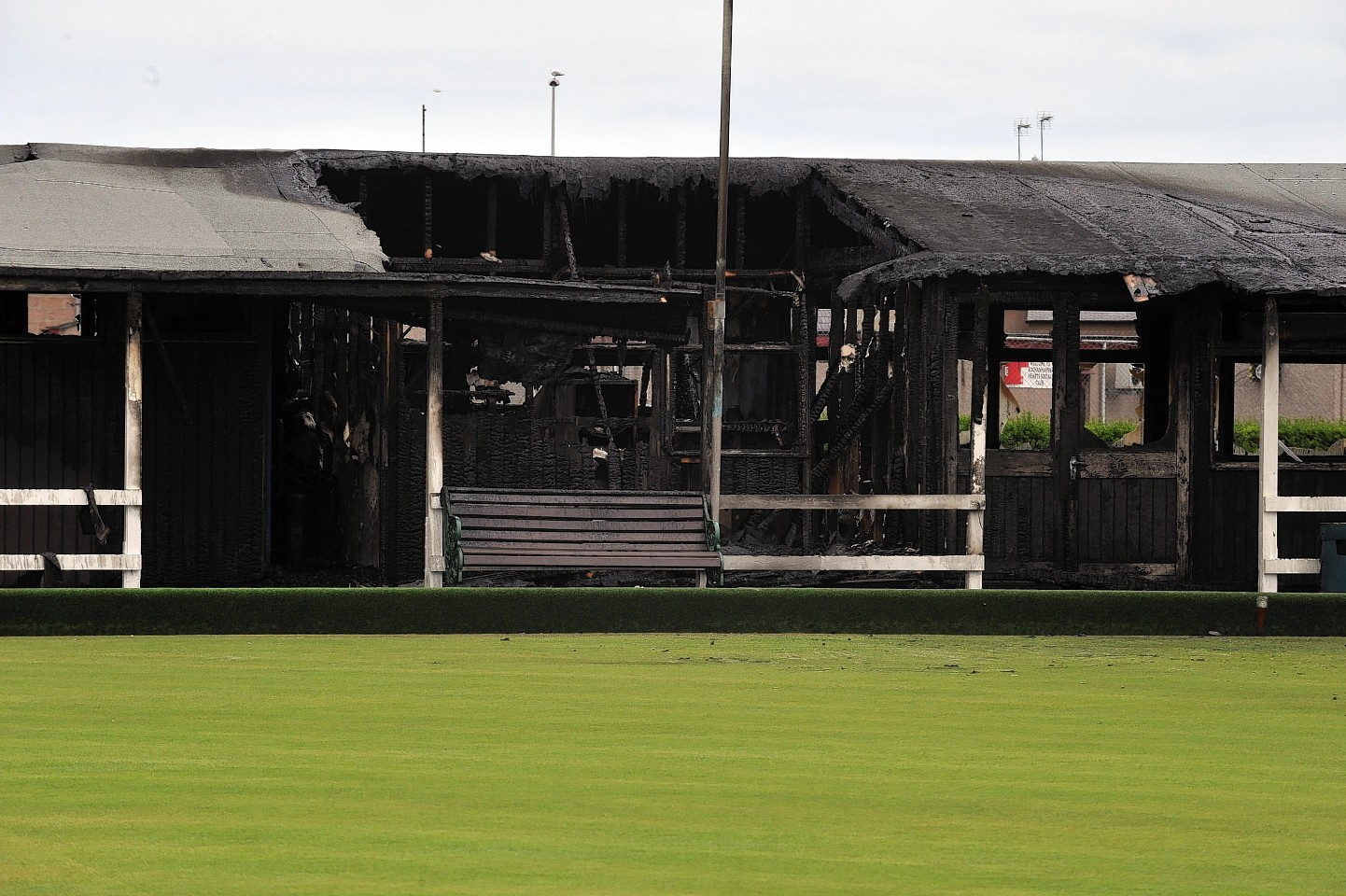 The charred remains of Peterhead Bowling Club