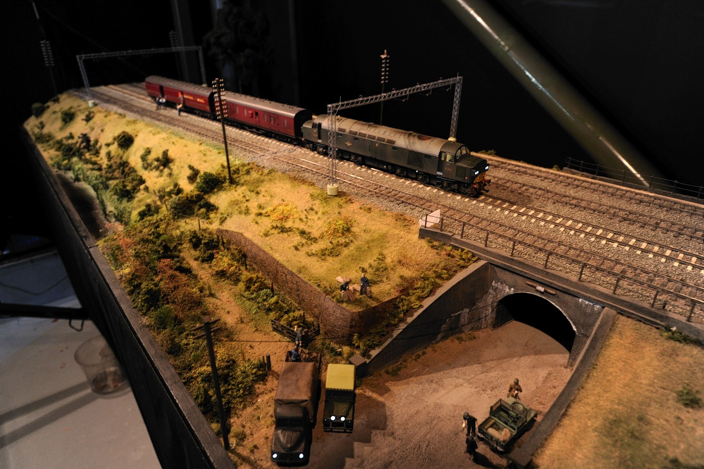 The miniature train set depicting the Great Train Robbery