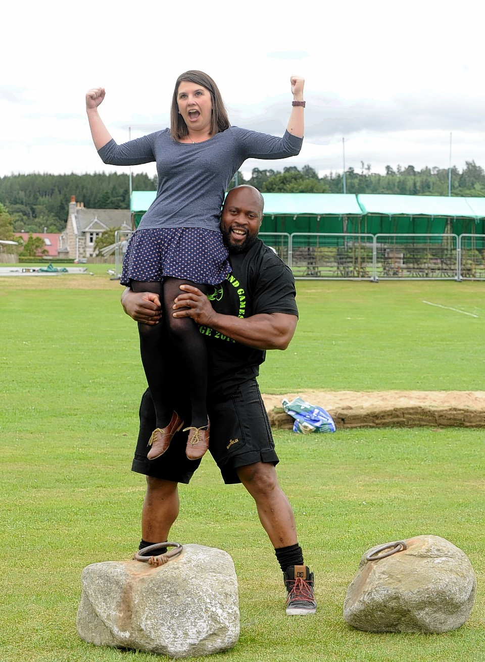 Press and Journal reporter Jessica Murphy is lifted into the air by strongman