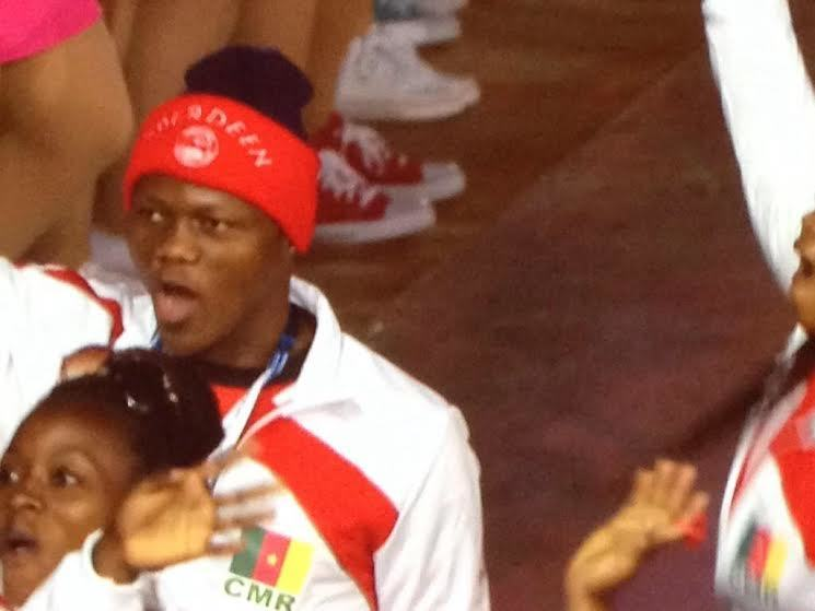 Cameroon athlete's Aberdeen FC hat