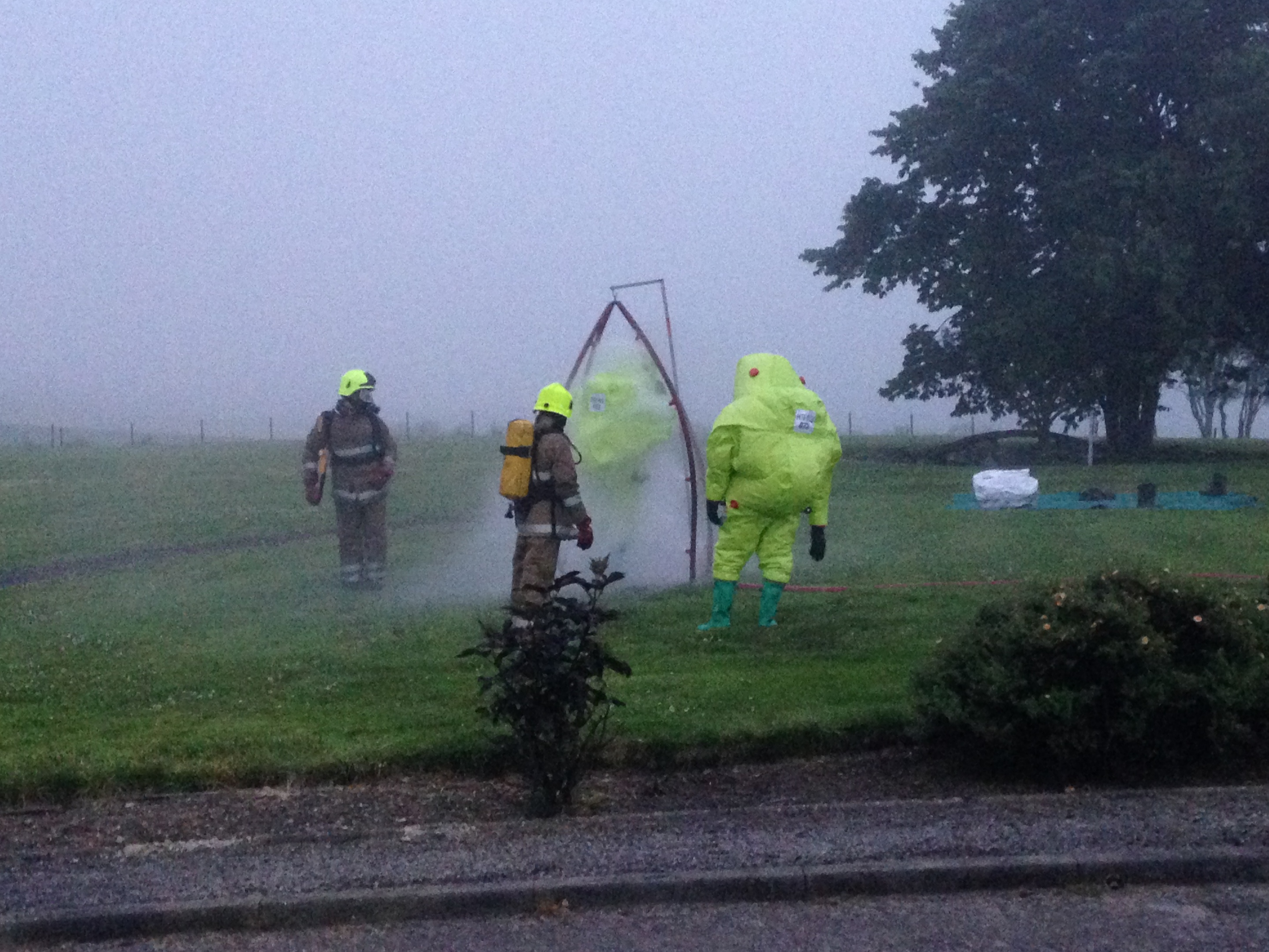 Specialists are doused down at the Brora chemical leak