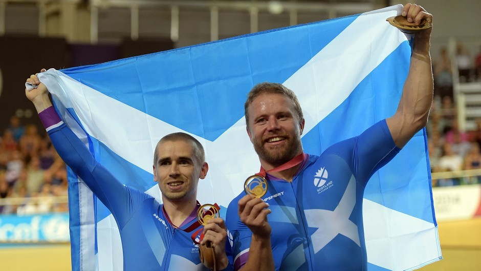 Scotland's Neil Fachie celebrates winning at the Commonwealth Games