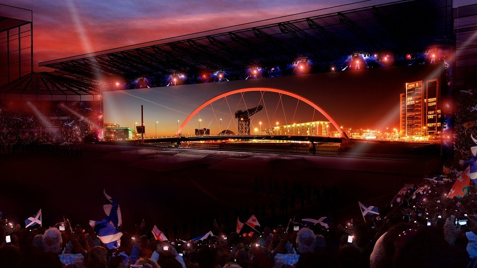 A giant screen takes up one side of Celtic Park (Glasgow 2014/PA Wire)