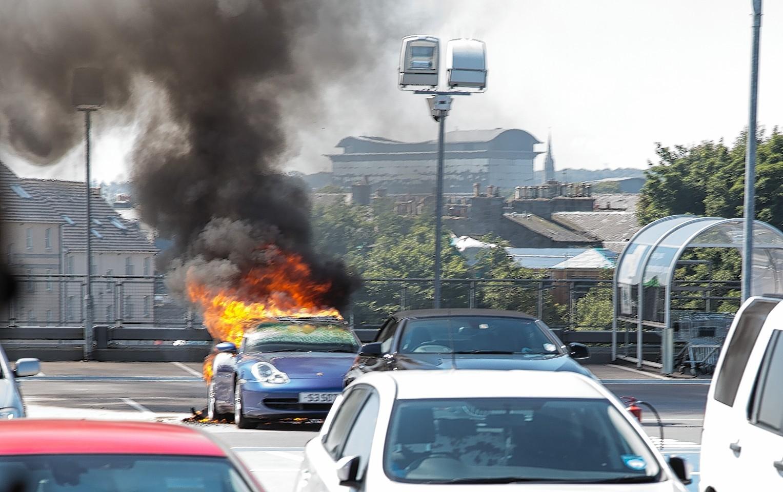 Porsche fire at Union Square