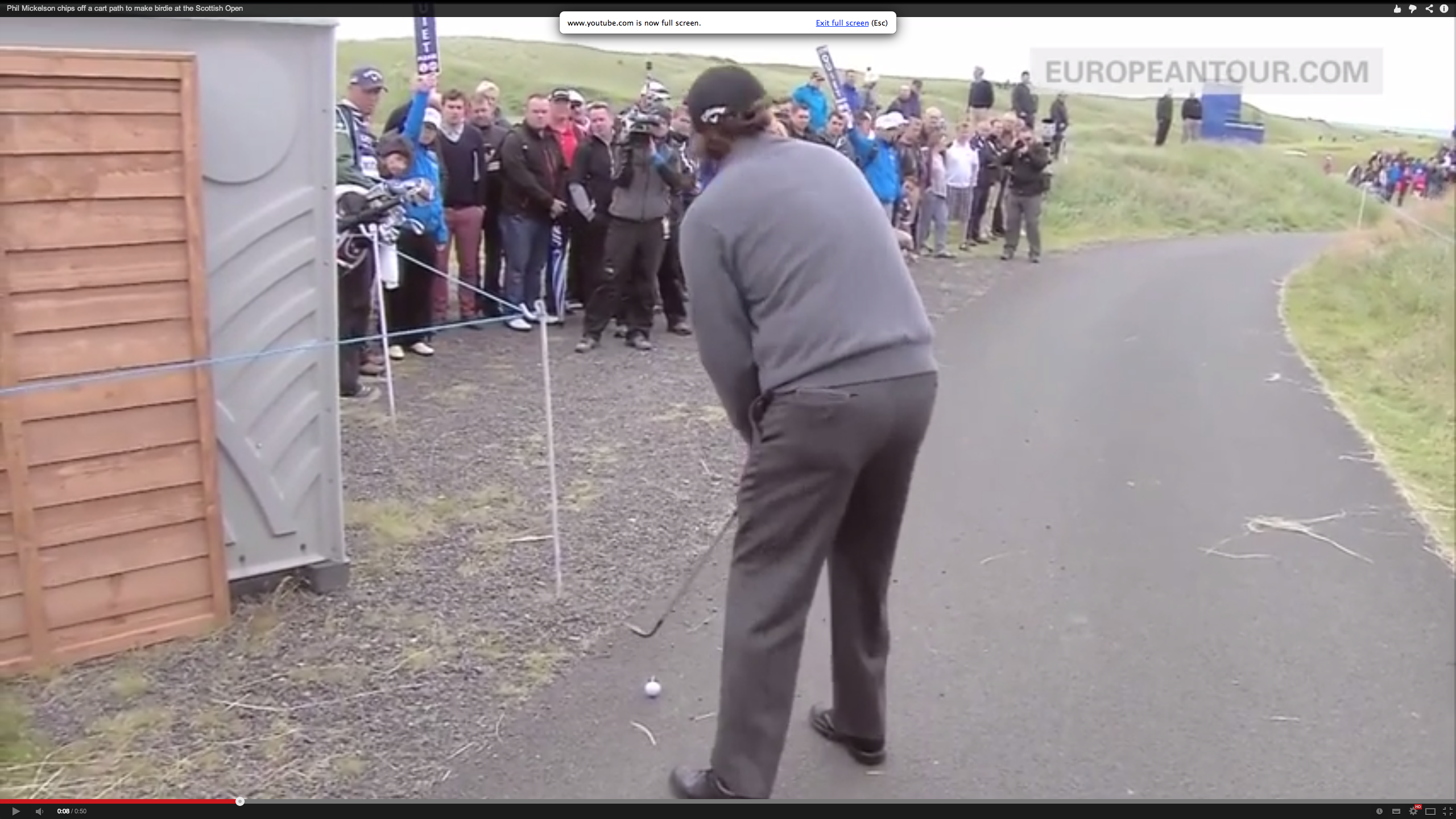 Phil Mickelson on the tarmac at Royal Aberdeen