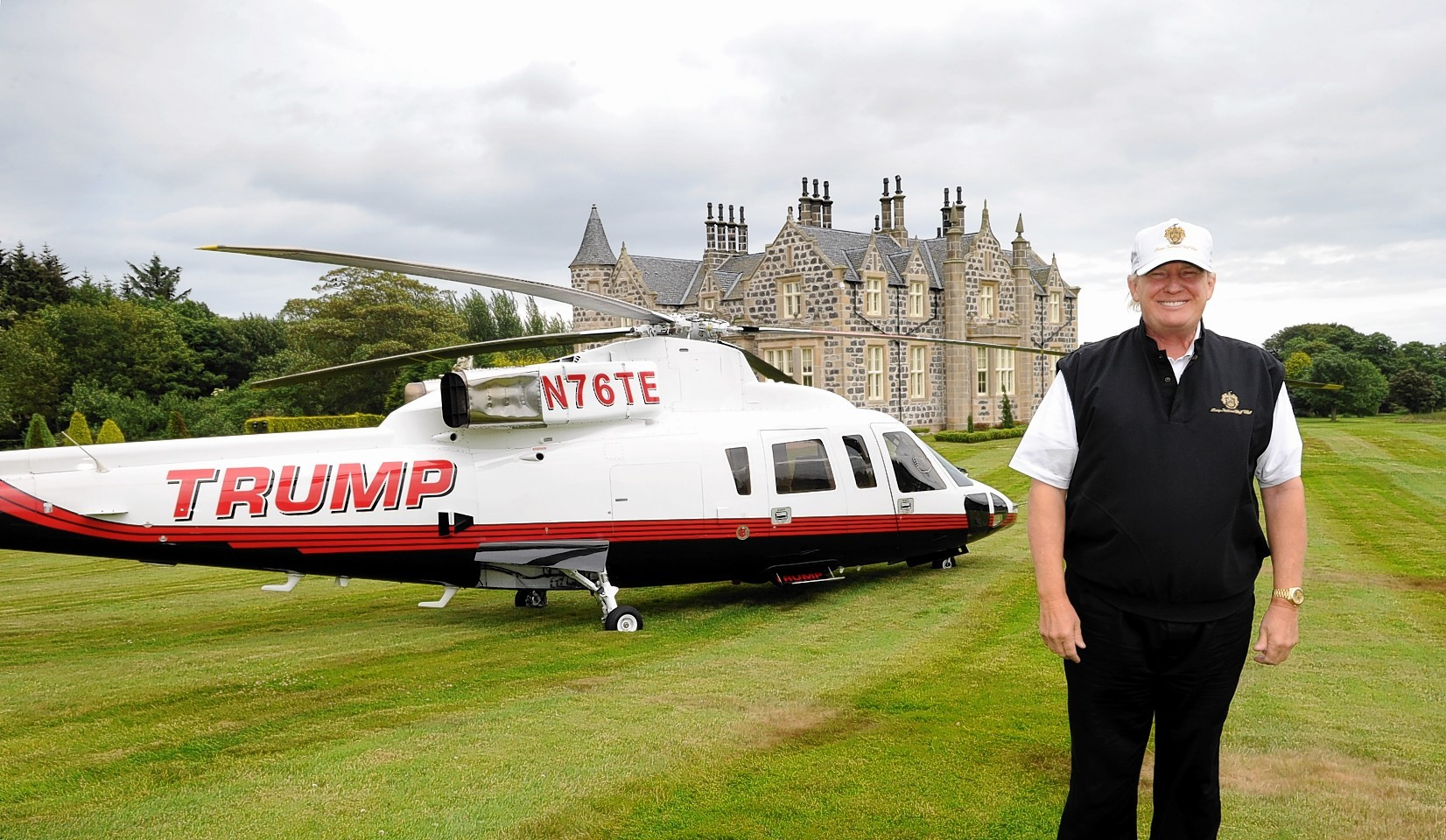 Donald Trump at the Menie Estate last year