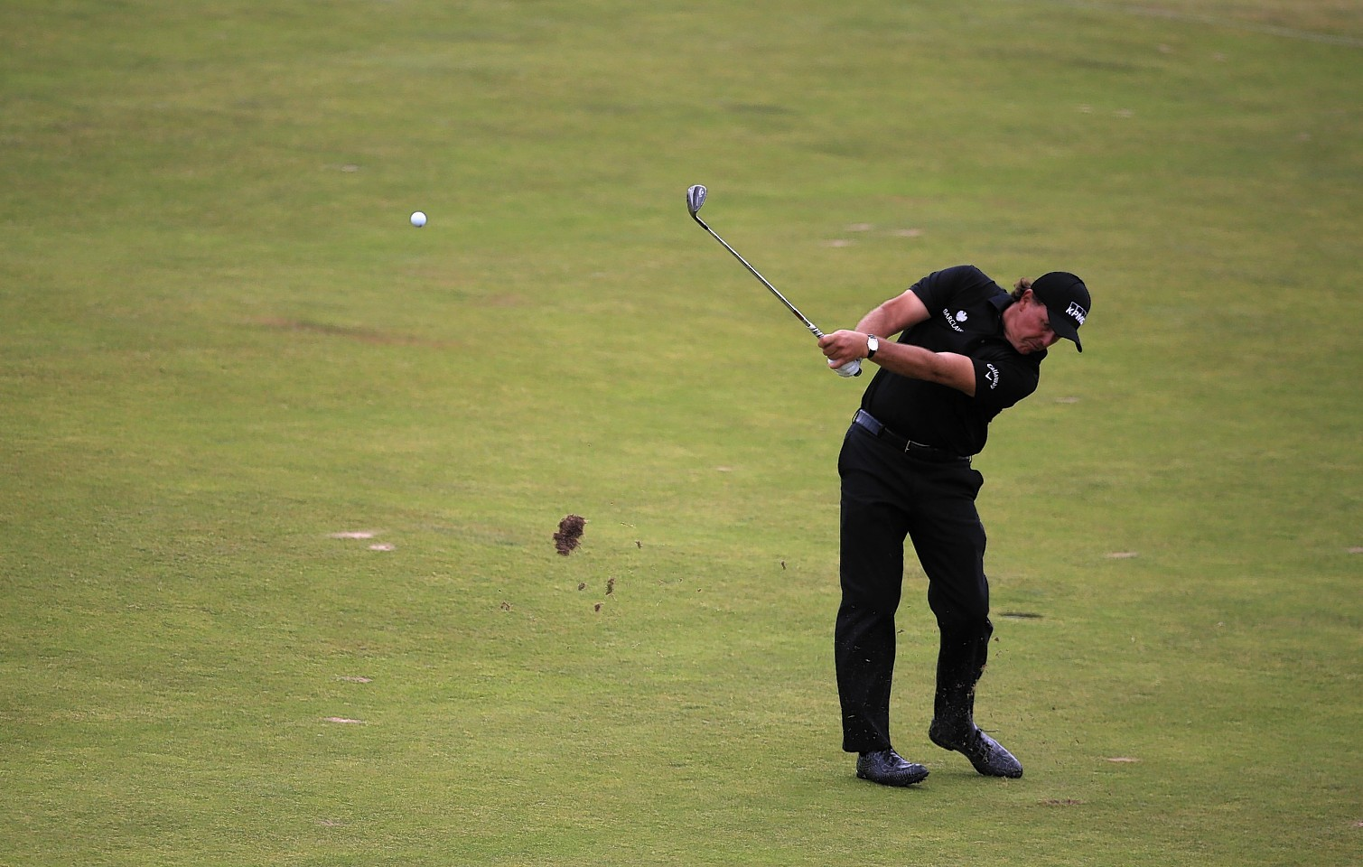 Phil Mickelson playing at The Open on Sunday