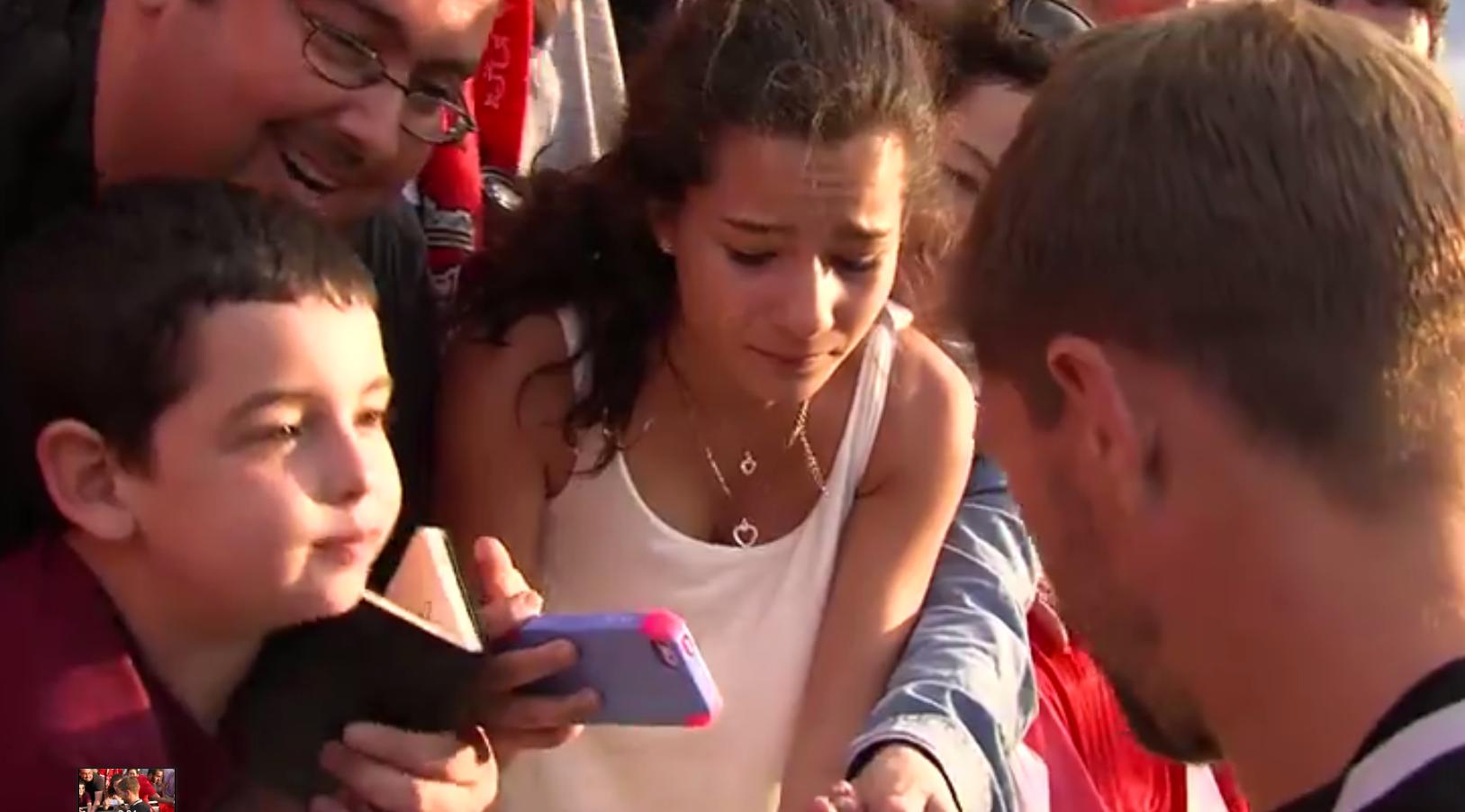 A girl was left starstruck after meeting Liverpool's Steven Gerrard