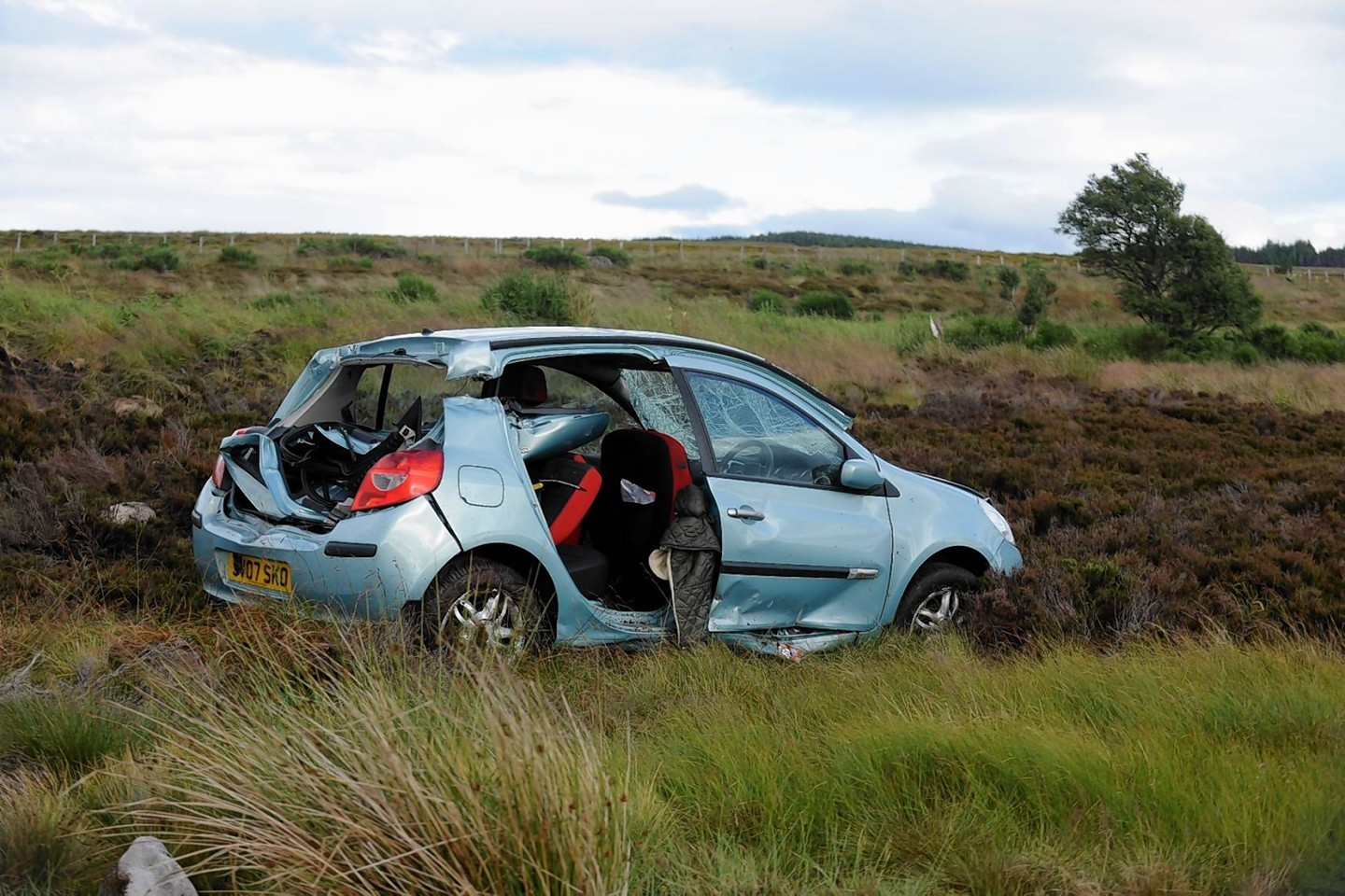 A female driver had to be cut free from her car