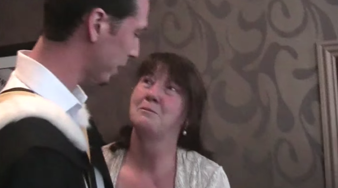 A mother is surprised by her son's secret studying