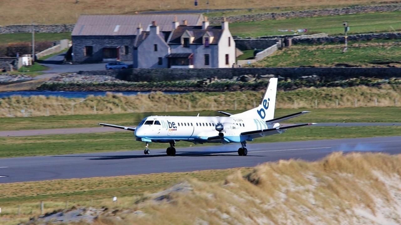 A Flybe/Loganair aircraft landing at Shetland's Sumburgh airport