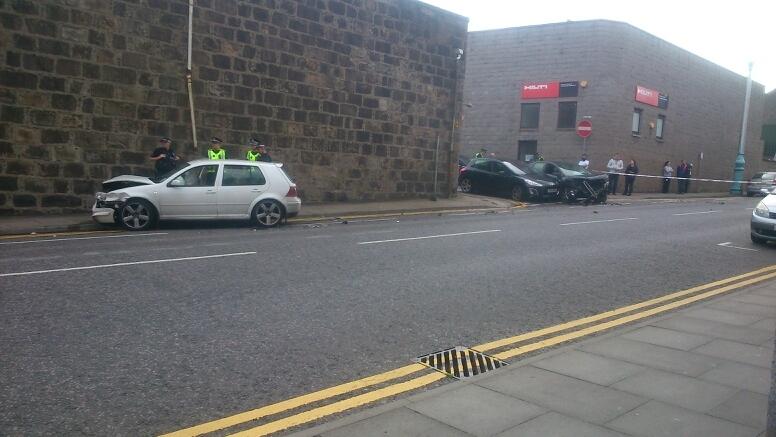Car crash on Hutcheon Street in Aberdeen