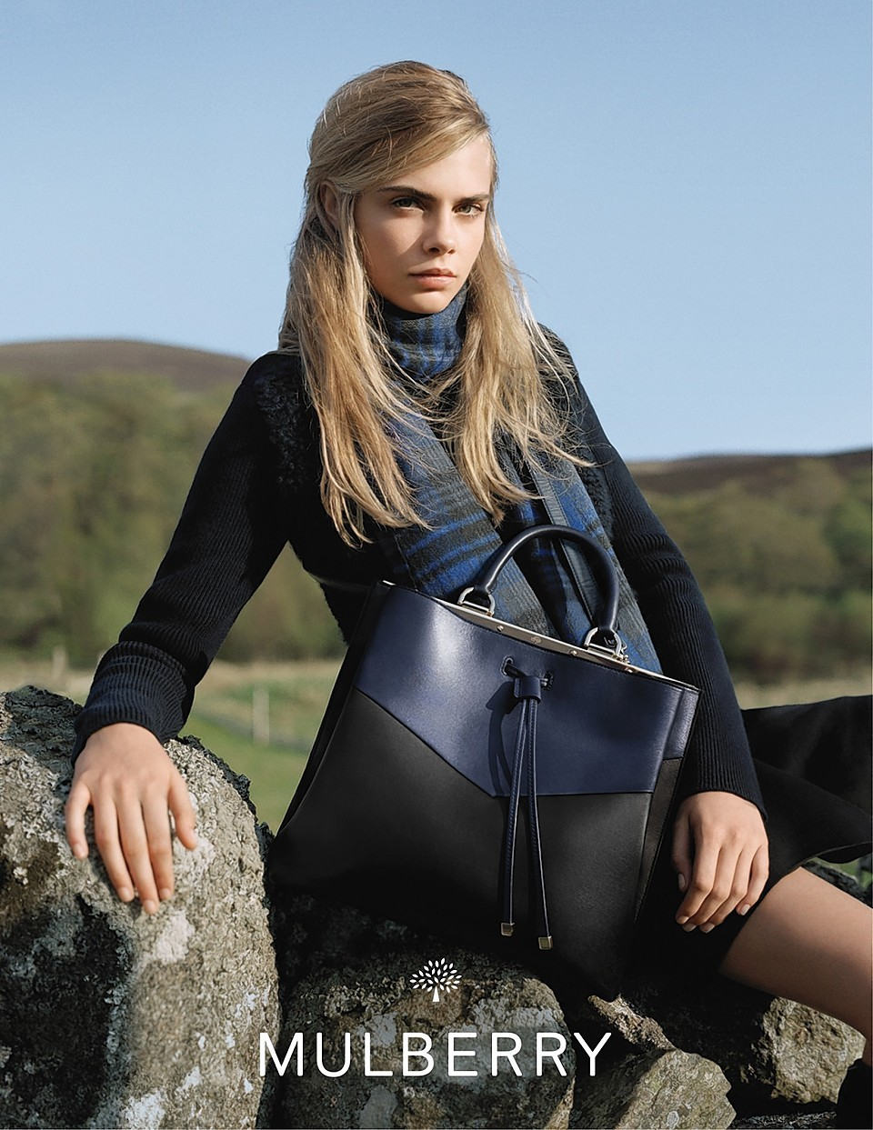 Cara Delevingne in the Highlands modelling Mulberry clothing