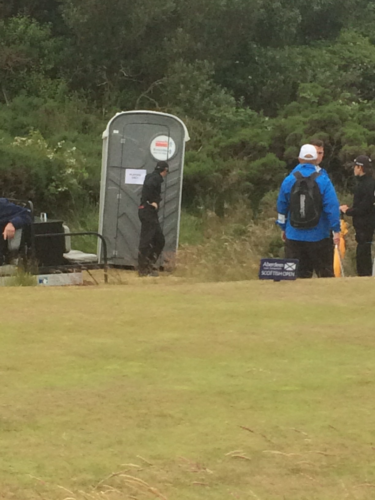 Rory McIlroy locks Karlsson in a portable toilet