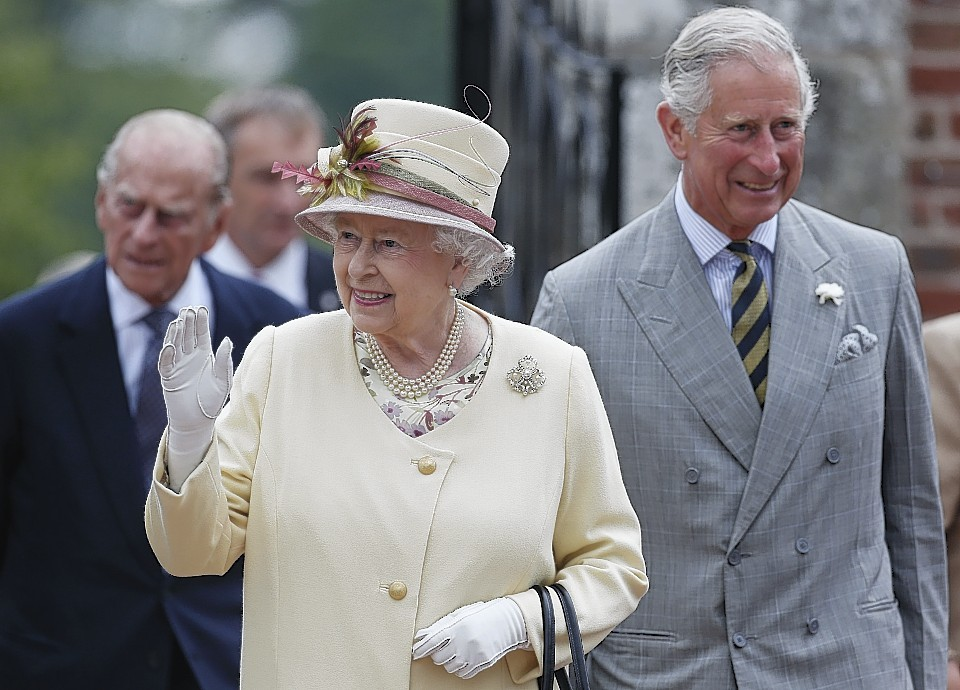 Queen Elizabeth II and the Duke of Edinburgh with the Duke of Rothesay during a visit to Dumfries House in Cumnock