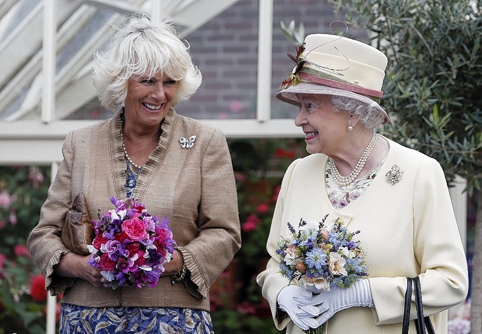 Queen Elizabeth II and the Duchess of Rothesay during a visit to Dumfries House in Cumnock.