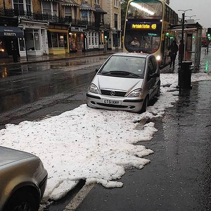 Photo taken from the Twitter feed of @MPS UxbSouth with permission of  the aftermath of a hailstorm in Church Road, Hove as storms hit the Hove, Brighton and Worthing areas of Sussex at the start of the morning rush-hour